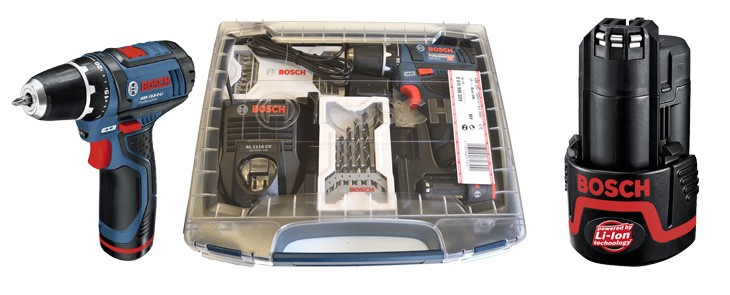 Bosch  GSR 10,8-2 Li screwdriver now available also in a practical plastic box and with a 3-year warranty